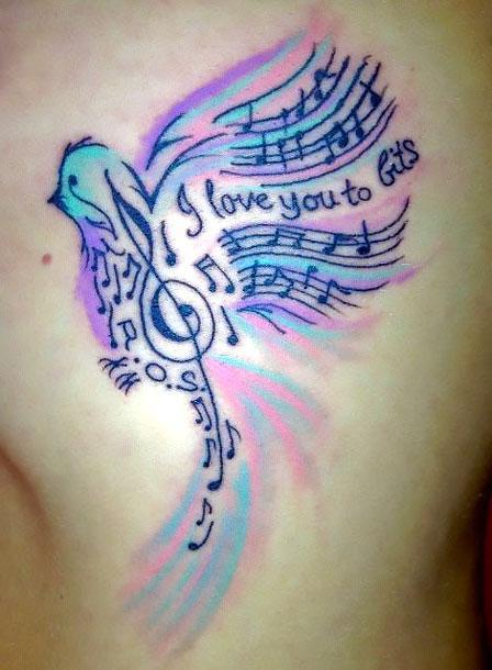 Colorful Songbird Tattoo Idea