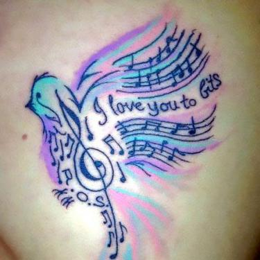 Colorful Songbird Tattoo