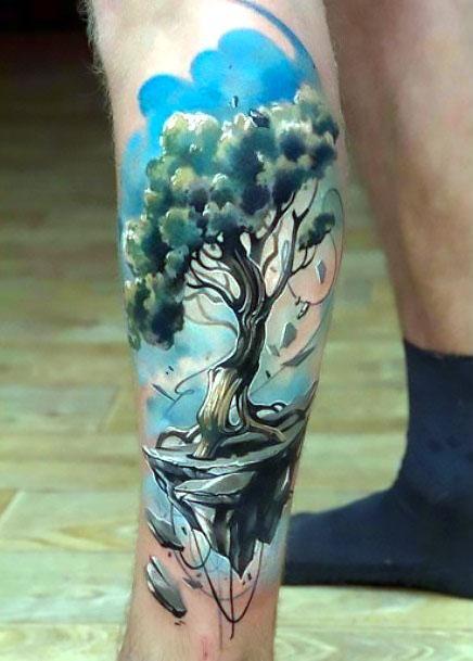 Colorful Tree on Calf Tattoo Idea