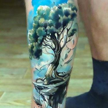Colorful Tree on Calf Tattoo