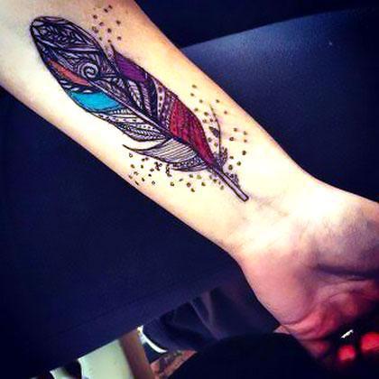 Colorful Tribal Feather Tattoo Idea