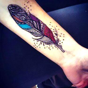 Colorful Tribal Feather Tattoo