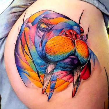 Colorful Walrus on Butt Tattoo