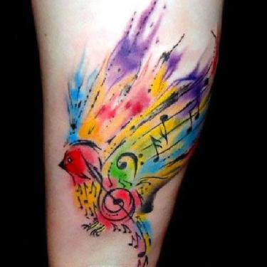 Colorful Watercolor Songbird Tattoo