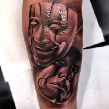 Comedy Masks In Chicano Style Tattoo