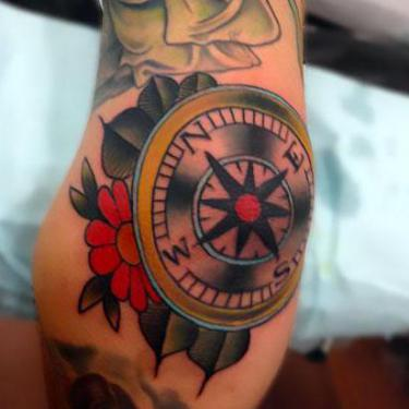 Compass on Elbow Tattoo