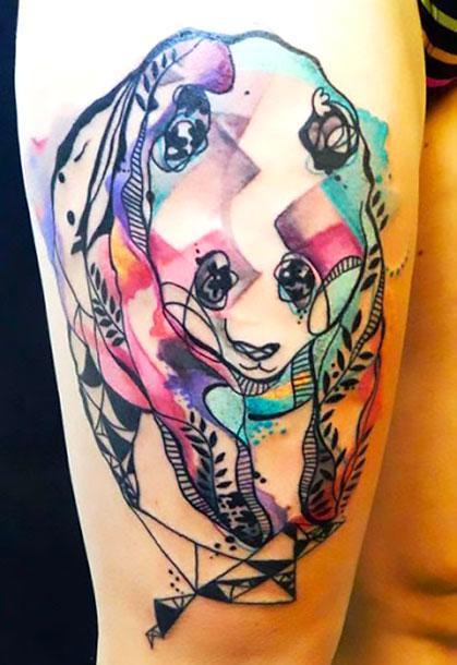 Cool Abstract Panda Tattoo Idea