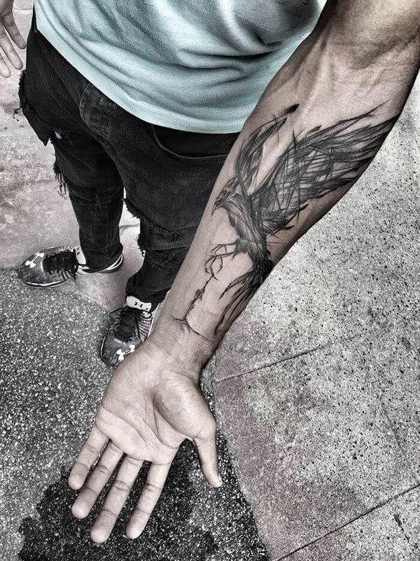 Bird Sketch On Arm Tattoo Idea
