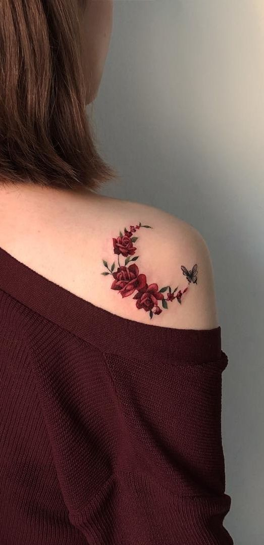 Butterfly and Red Roses Tattoo Idea