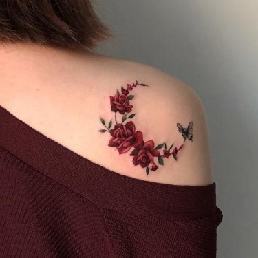 Butterfly and Red Roses Tattoo