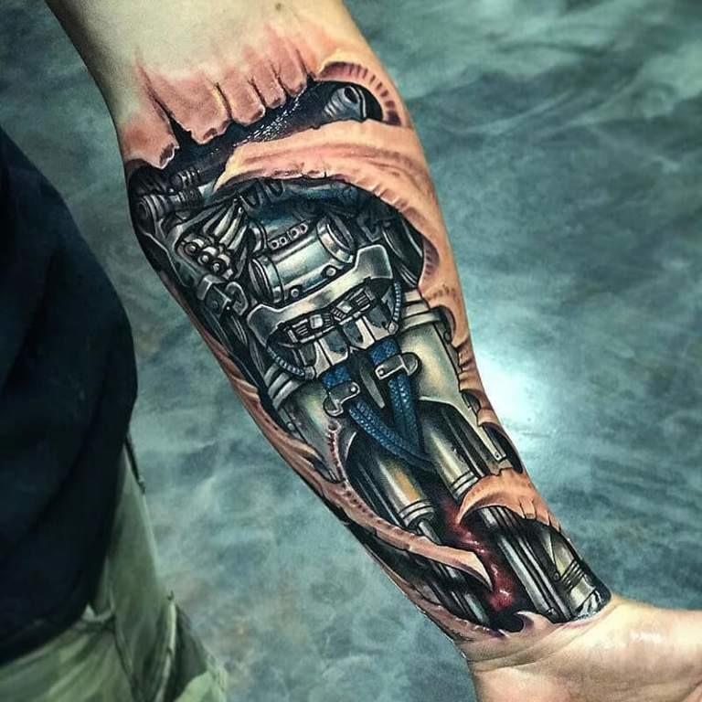 Biomechanical Forearm Tattoo Idea