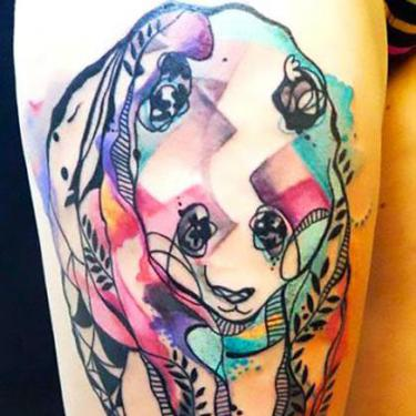 Cool Abstract Panda Tattoo