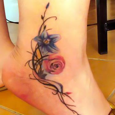 Cool Ankle Flowers Tattoo
