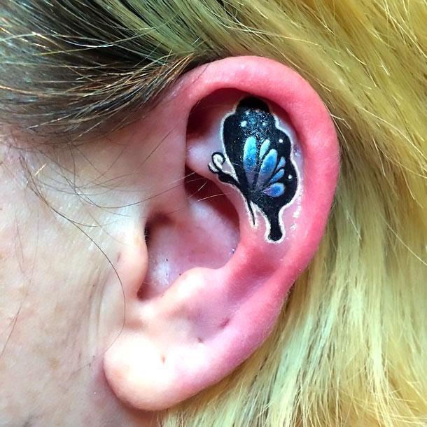 Cool Butterfly Ear Tattoo Idea