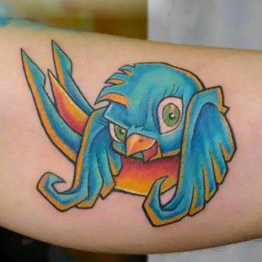 Cool Cartoon Bluebird Tattoo