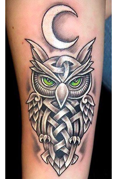 Cool Celtic Owl Tattoo Idea