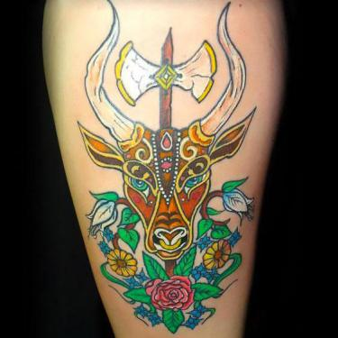 Colorful Bull Head Tattoo