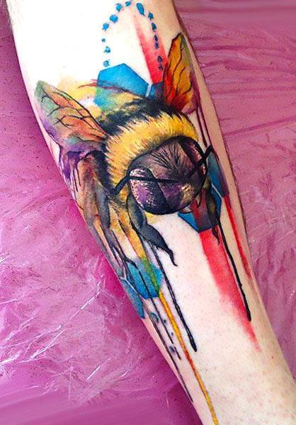 Colorful Bumble Bee Tattoo Idea