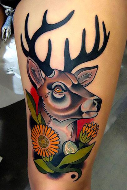 Colorful Deer Head Tattoo Idea