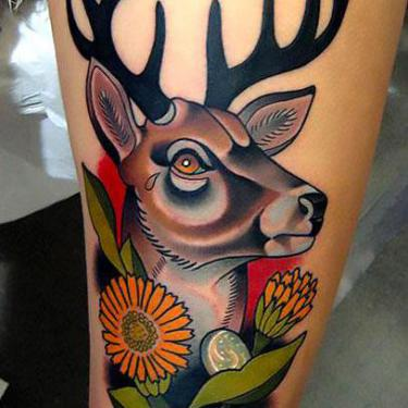 Colorful Deer Head Tattoo