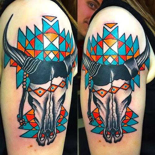 Colorful Geometric Bull Skull Tattoo Idea