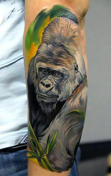 Colorful Gorilla Tattoo Idea