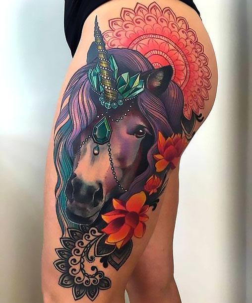 Colorful Horse and Mandala Tattoo Idea