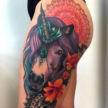 Colorful Horse and Mandala Tattoo