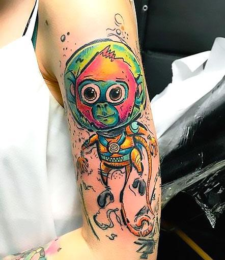 Colorful Space Monkey Tattoo Idea