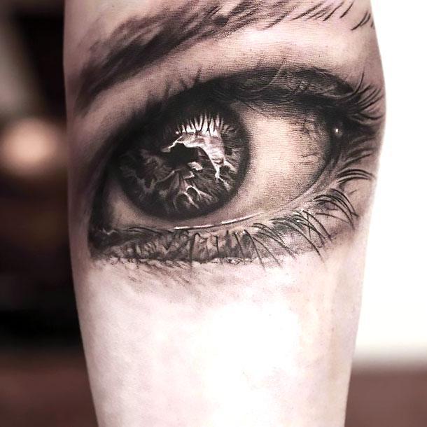 3D Black and Gray Eye Tattoo Idea