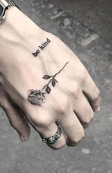 Rose Hand Tattoo Idea