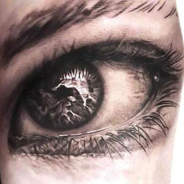 3D Black and Gray Eye Tattoo
