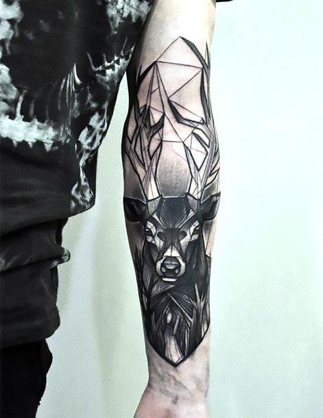 Cool Black Dear on Arm Tattoo Idea