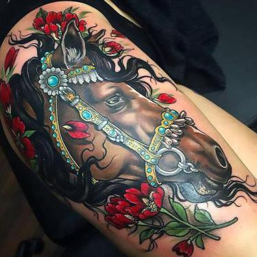 Cool Brown Horse Head Tattoo