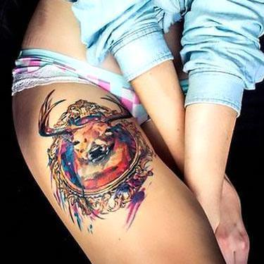 Cool Colorful Deer Tattoo