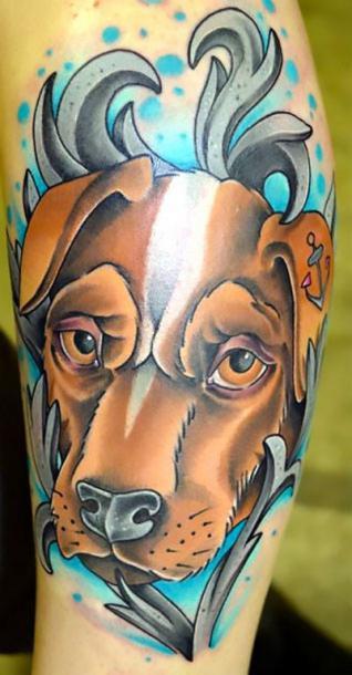 Cool Dog Portrait Tattoo Idea