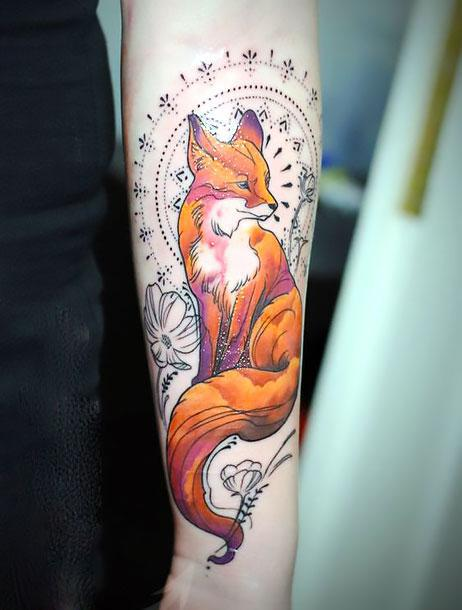 Cool Fox on Arm Tattoo Idea