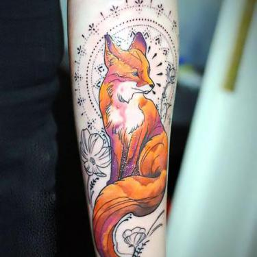 Cool Fox on Arm Tattoo