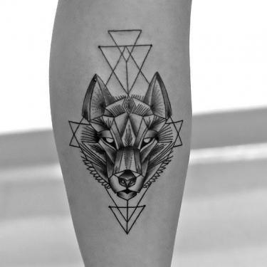 Cool Geometric Wolf Tattoo