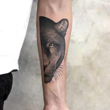 Cool Panther Half face Tattoo