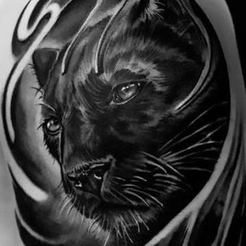 Cool Realistic Black Panther Sleeve Tattoo