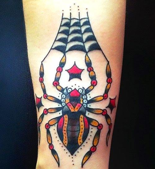 Cool Traditional Spider Tattoo Idea