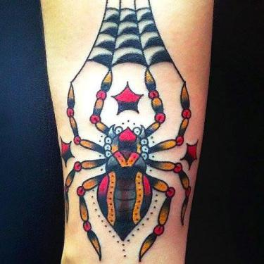 Cool Traditional Spider Tattoo