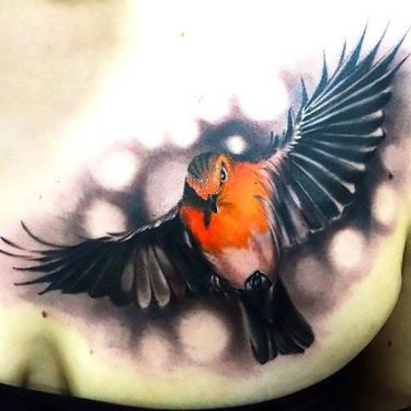 3D Realistic Bird Tattoo
