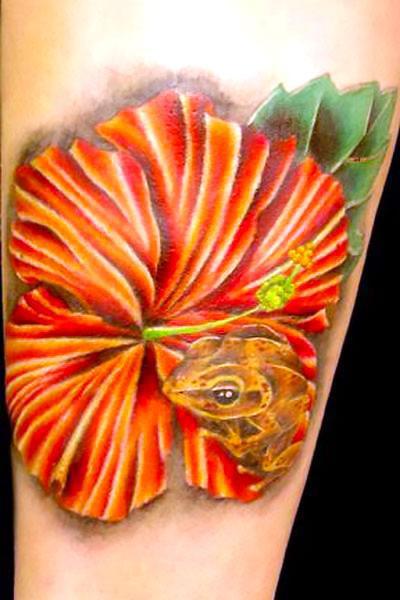 Coqui Frog In Flower Tattoo Idea