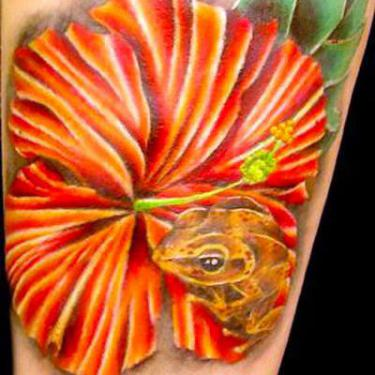 Coqui Frog In Flower Tattoo