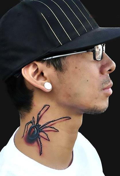 3D Spider on Neck Tattoo Idea