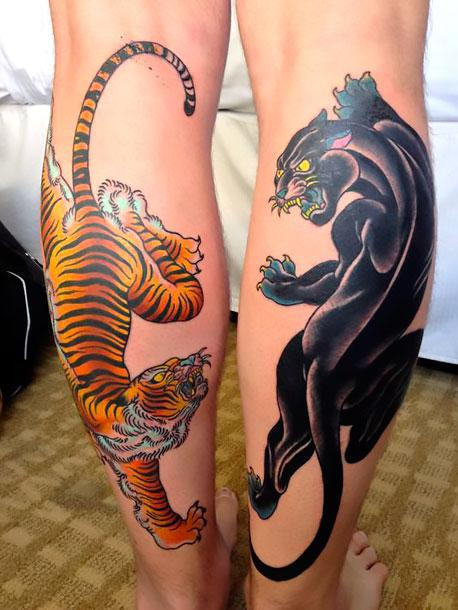 Crawling Panter and Tiger Tattoo Idea