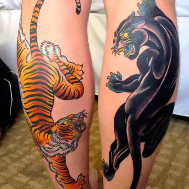 Crawling Panter and Tiger Tattoo