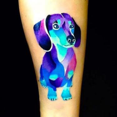 Cute Colorful Dachshund Dog Memorial Tattoo